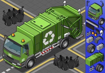 Detailed illustration of a isometric garbage truck