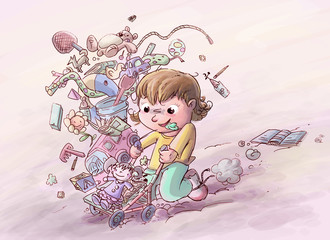 niña con sus juguetes
