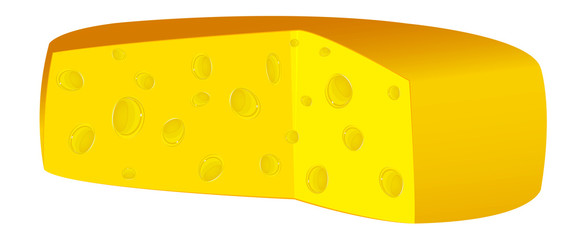 Natural swiss dairy cheese on a white background.Vector