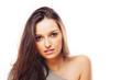 Beautiful brunette woman intense close up portrait