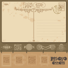 vintage post card background sample with different element