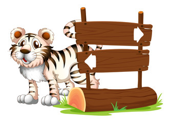 A tiger at the back of a wooden signboard