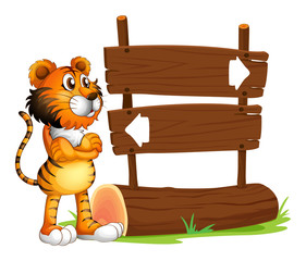 A wooden signboard with a tiger