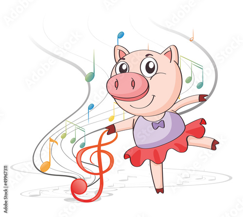 A pig dancing with musical notes