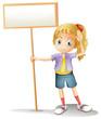 A girl holding an empty signboard