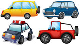 Different kinds and colors of cars