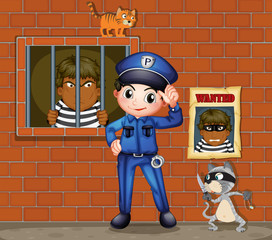 A policeman in front of a jail with two cats