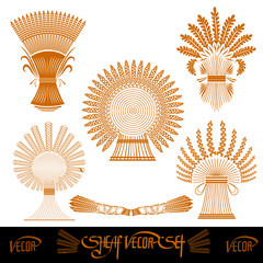 five sheaf silhouetes of wheat