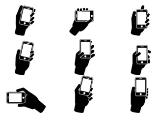 hand holding smartphone icons