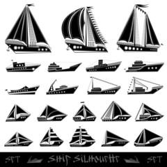 ship fish boat silhouette set