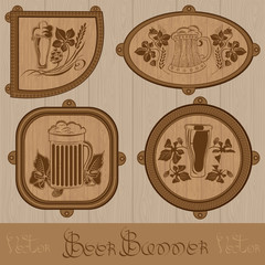 four different form wood banner with beer label