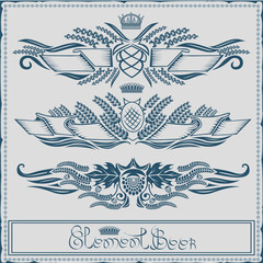 beer label with ribbon crown grain hop element