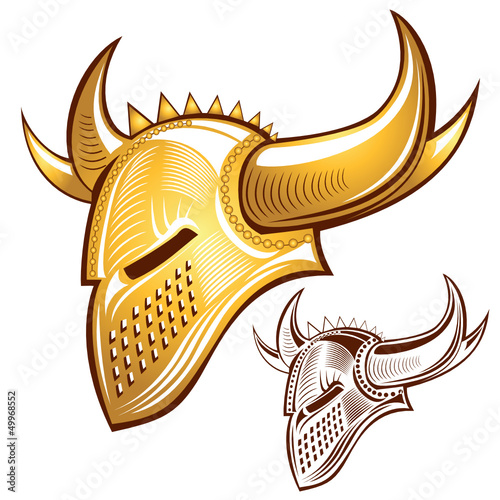 silhouette of knight golden helmet with horn