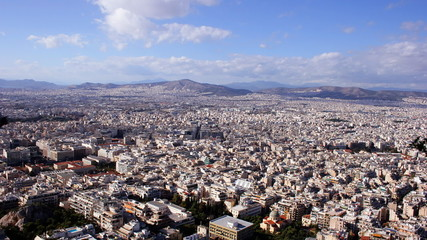 Panorama of Athens city, capital of Greece, time lapse