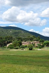 Stone houses in countryside, Lourmarin village, Provence, France