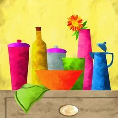 vasi e bottiglie colorate