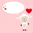 Little sheep with heart balloon and speech bubble