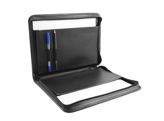 Open briefcase with stationery