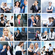 A collage of young business persons in formal clothes