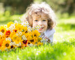Child with bouquet of flowers