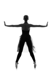 Black and white trace of a young and beautiful ballet dancer