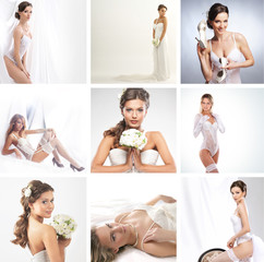 A collage of young women posing in white bridal dresses