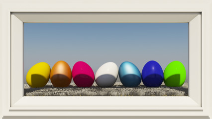 Colorful eggs on hay framed photo frame