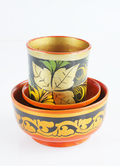 Set of old wooden painted dishware