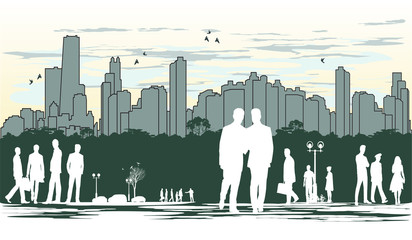 outline silhouette of the city with crowd of people