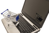 Shopping Cart On Open Laptop