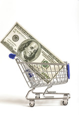 Shopping Cart With Hundred Dollar Bill