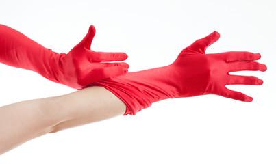 red women's gloves