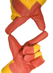 Frame made from red protective gloves