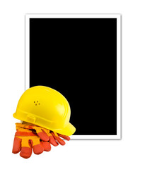 Yellow hard hat and protective gloves isolated with empty frame
