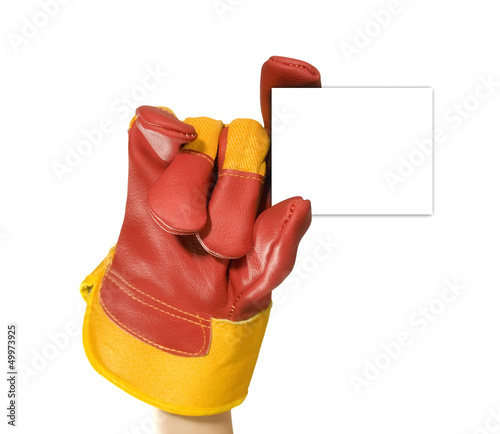 Red protective gloves holding an empty black frame for your text
