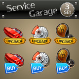 Upgrade and buy parts icons for race game-set 3 poster