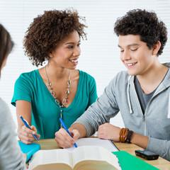 Two Happy Friends Doing Homework