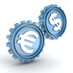 blue gears showing a relationship of the dollar on the euro