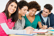 Happy Friends Doing Homework