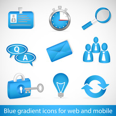 Set of blue gradient icons for web and mobiles