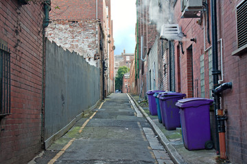 Rubbish bins lined up in narrow cobblestoned alley