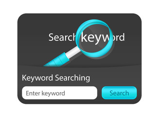 Keyword search form blue magnifying glass.