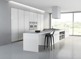 White contemporary minimal kitchen with garden view