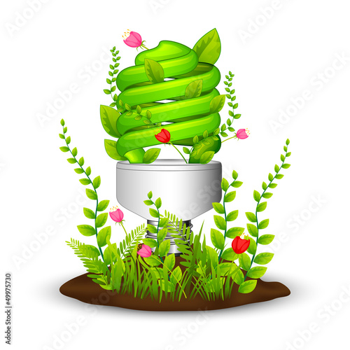 vector illustration of green light eco concept with flora