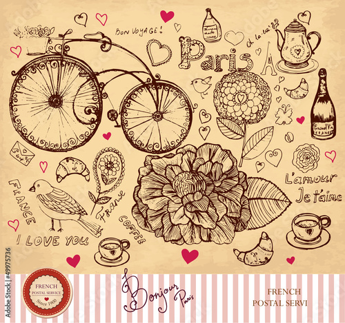 Vector hand drawn card with Paris symbols