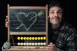 Romantic man chalkboard