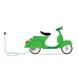 Vintage styled electric moped charging with a cable
