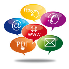 Sprechblasen Kommunikation, Kontakt, web, Datentransfer, Bubbles