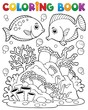 Coloring book coral reef theme 1
