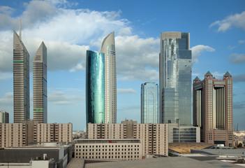 Dubai Skyline Against Blue Sky